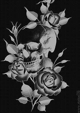 Эскиз тату череп и розы