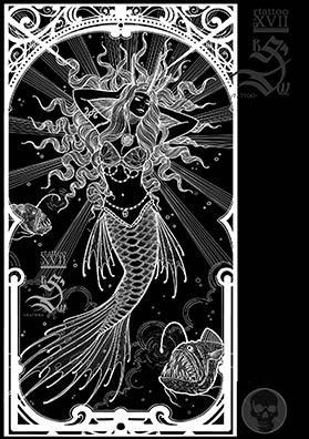 Эскиз тату русалка
