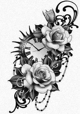 Тату эскиз часы и розы