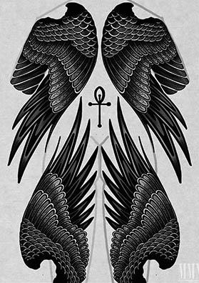 Тату эскиз на спину крылья