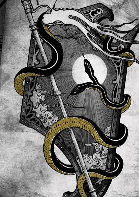 Тату эскиз щит и змея