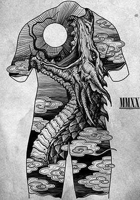 Тату эскиз на спину змей Апоп