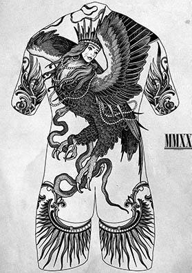 Тату эскиз на спину птица Алконост