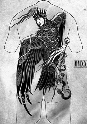 Эскиз тату на спину птица Алконост