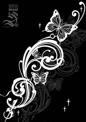 Эскиз тату узор и бабочка