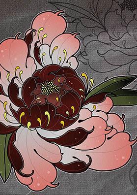 Эскиз тату пион в цвете