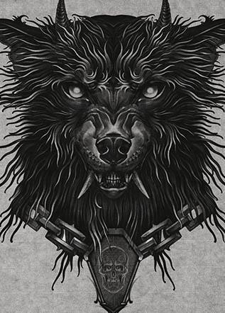 Эскиз тату волк