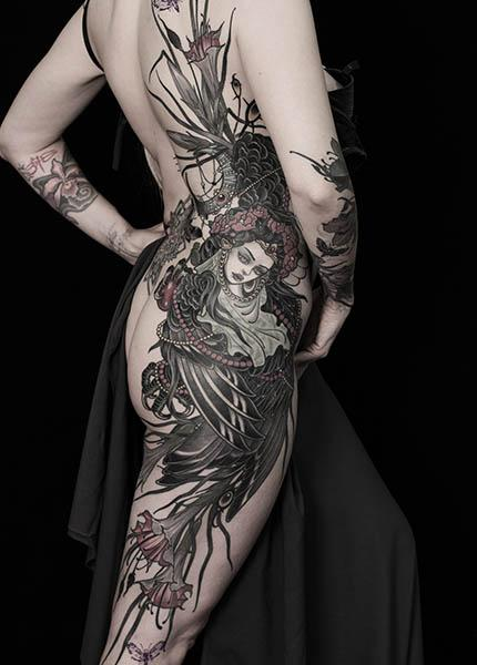 neotraditional tattoo женская