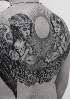 Тату ангелы на спине