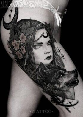 Тату девушка и волк