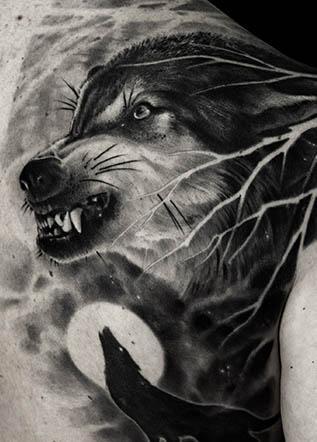 Тату реализм волки
