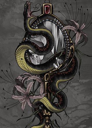 Тату змея зеркало