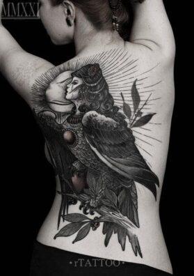 Татуировка птица Алконост
