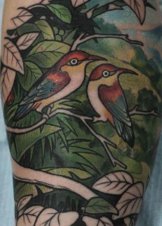 Цветная тату птицы