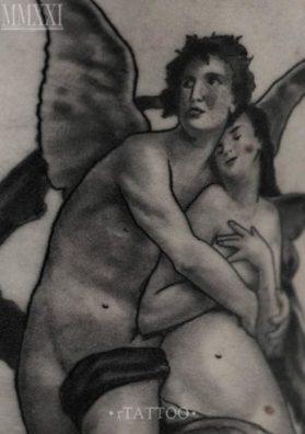 Амур и Психея тату 2