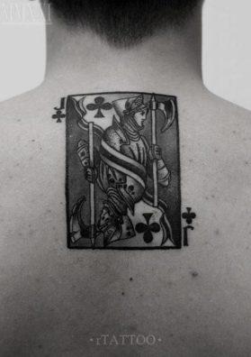 Тату карта на спине