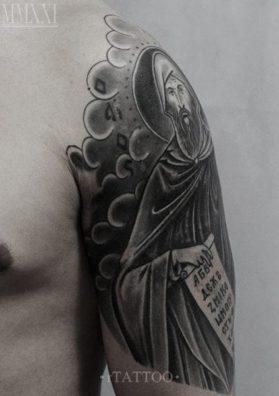 Тату святой на плече 1