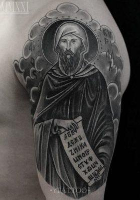 Тату святой на плече 3