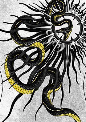 Эскиз тату змея и звезда